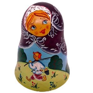 Russian Roly-Poly Wooden Bell Hand Painted Doll